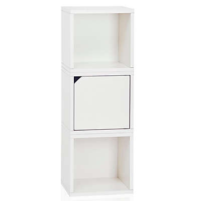 Way Basics Tool-Free Assembly zBoard paperboard Connect 3-Cube Stackable Modular Storage in White