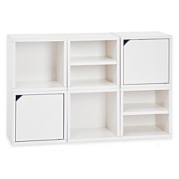Way Basics Tool-Free Assembly zBoard paperboard Connect 6-Cube Stackable Modular Storage in White
