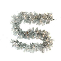 Kurt S. Adler, Inc. 9-Foot Pre-Lit Point Pine Garland in Silver with Clear Lights