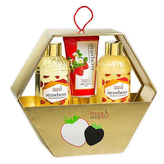 Alternate image 1 for Freida and Joe Strawberry Holiday Gift Set Gold Hexagon Box