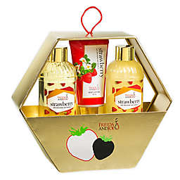 Freida and Joe Strawberry Holiday Gift Set Gold Hexagon Box