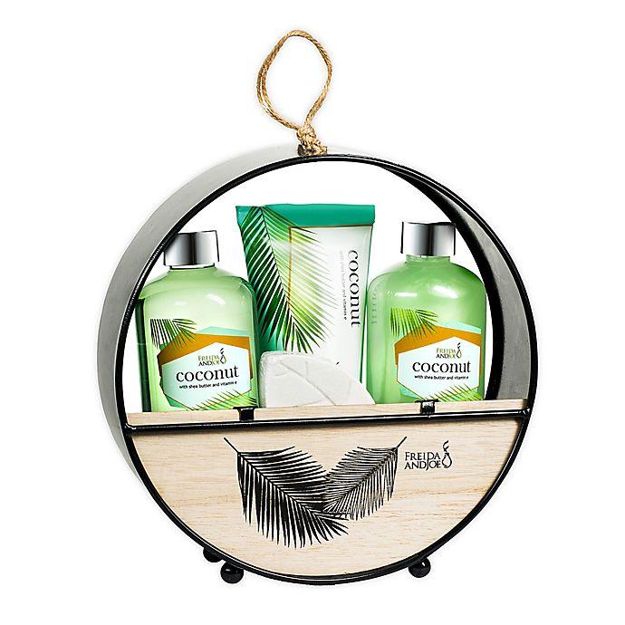 Alternate image 1 for Freida and Joe Coconut Bath Gift Set in Wood Round Holder