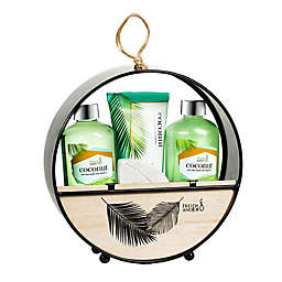 Freida and Joe Coconut Bath Gift Set in Wood Round Holder