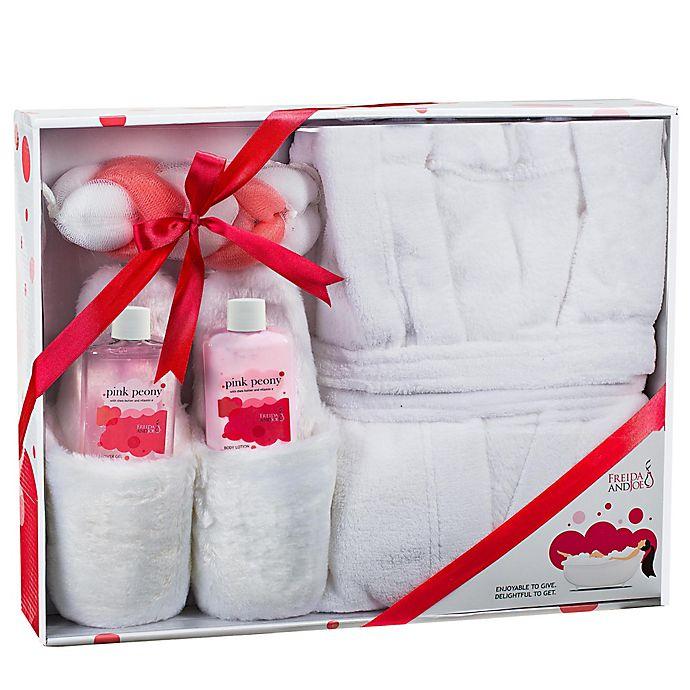 Alternate image 1 for Frieda and Joe Luxury Pink Peony 5-Piece Bath Spa & Slippers Set