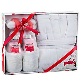 Frieda and Joe Luxury Pink Peony 5-Piece Bath Spa & Slippers Set