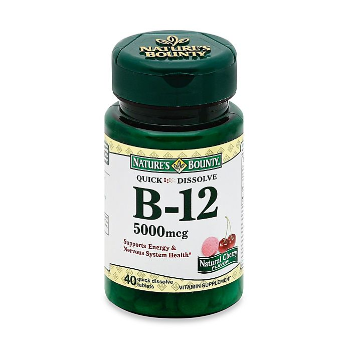 Alternate image 1 for Nature's Bounty 40-Count B-12 Quick Dissolve 5000 mcg Tablets