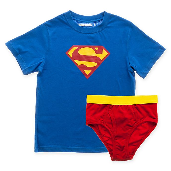 Alternate image 1 for DC Comics™ Small 2-Piece Superman T-Shirt and Underoos Diaper Cover Set in Blue/Red