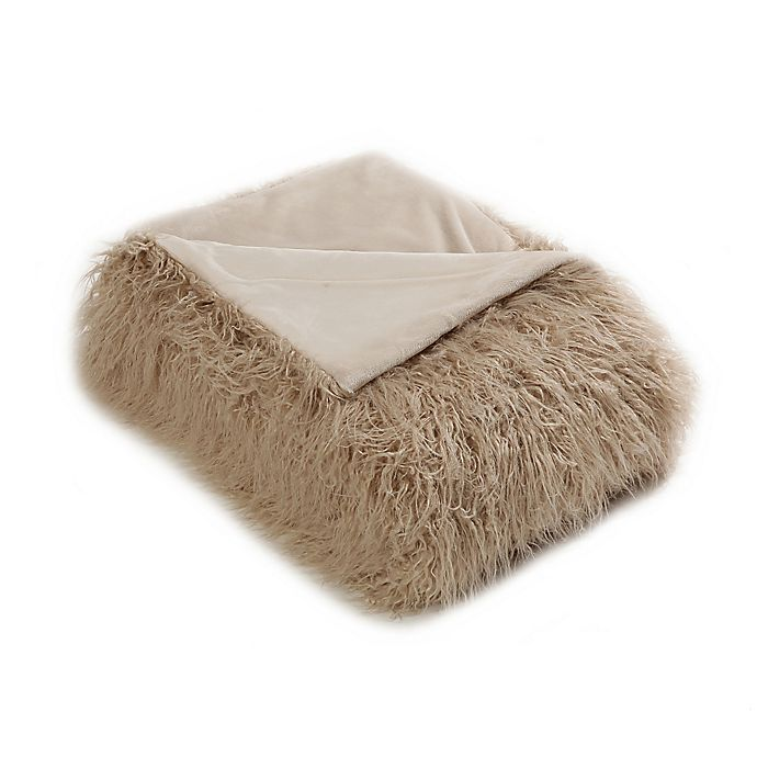 Alternate image 1 for Mongolian Lamb 60-Inch x 58-Inch Faux Fur Throw Blanket in Taupe