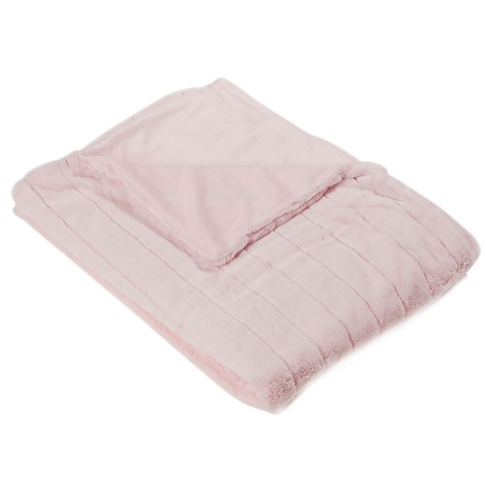 buy luxe mink 60 inch x 58 inch faux fur throw blanket in light pink from bed bath beyond. Black Bedroom Furniture Sets. Home Design Ideas