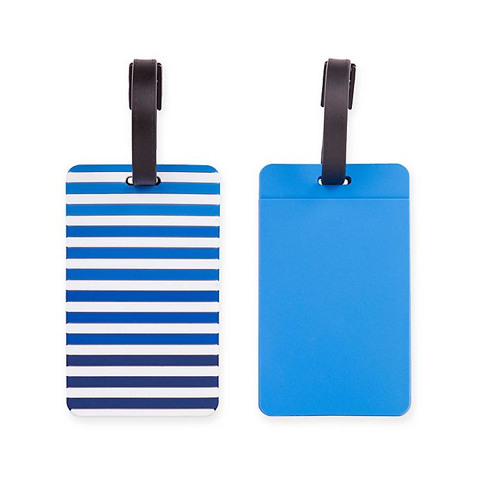 Alternate image 1 for Latitude 40ºN® Luggage Tags in Blue (Set of 2)