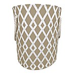 Diamond Print Canvas Fabric Hamper in Tan/White