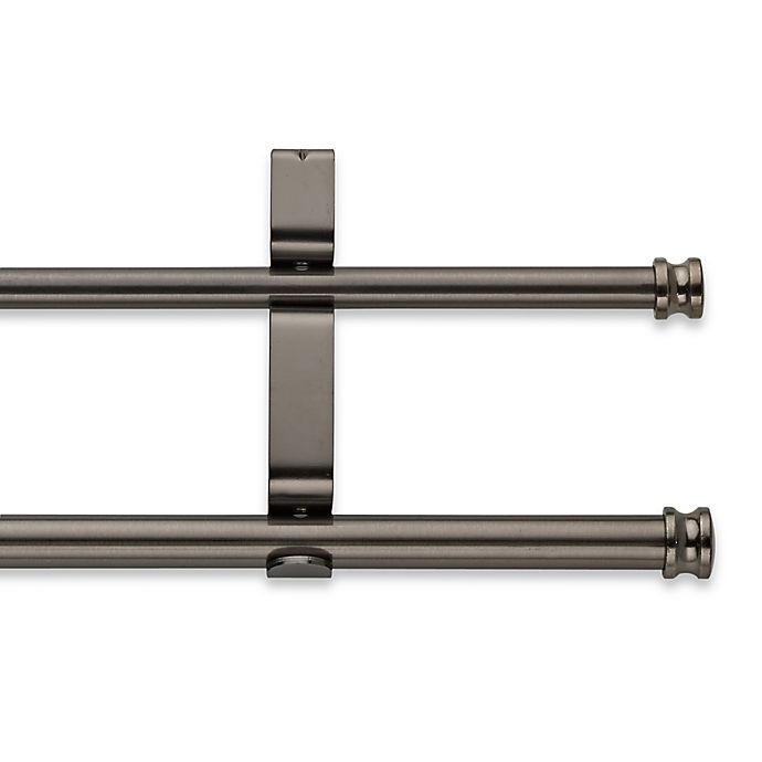 Alternate image 1 for Cambria® Classic Complete® Adjustable Double Curtain Rod in Graphite