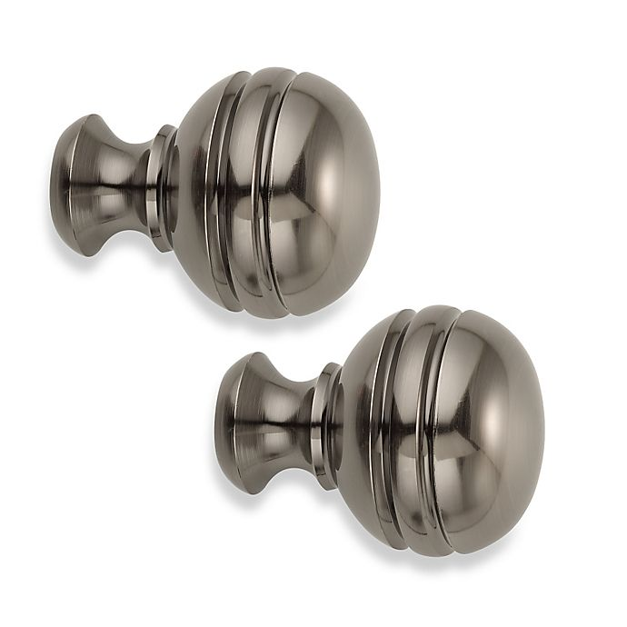 Alternate image 1 for Cambria® Classic Complete® Orbit Finials in Graphite (Set of 2)