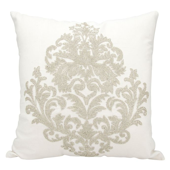 Alternate image 1 for Mina Victory Beaded Damask 18-Inch Square Throw Pillow Collection