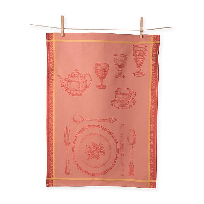 Alternate image 1 for European Jacquard Formal Setting Kitchen Towel in Orange (Set of 2)