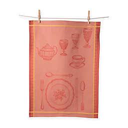 European Jacquard Formal Setting Kitchen Towel In Orange Set Of 2