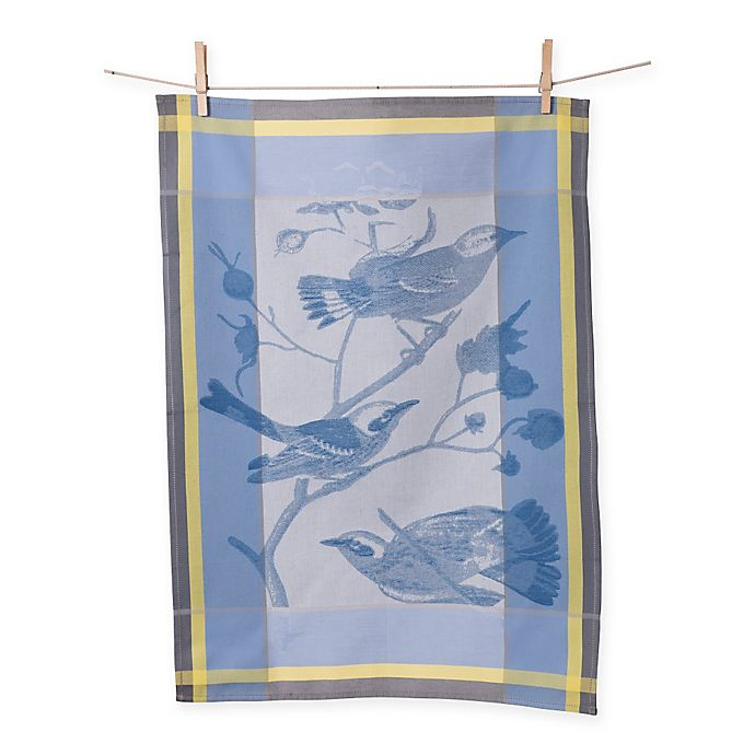 Alternate image 1 for European Jacquard Birds Kitchen Towel in Blue/Yellow (Set of 2)