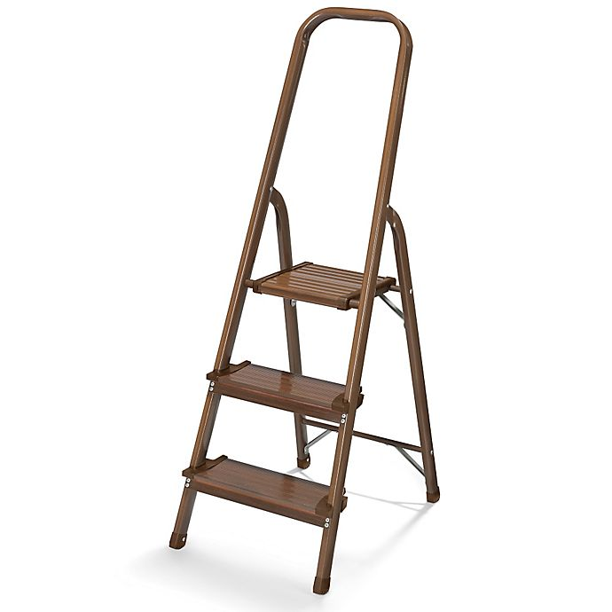 Polder 174 3 Step Ultralight Step Stool In Walnut Bed Bath