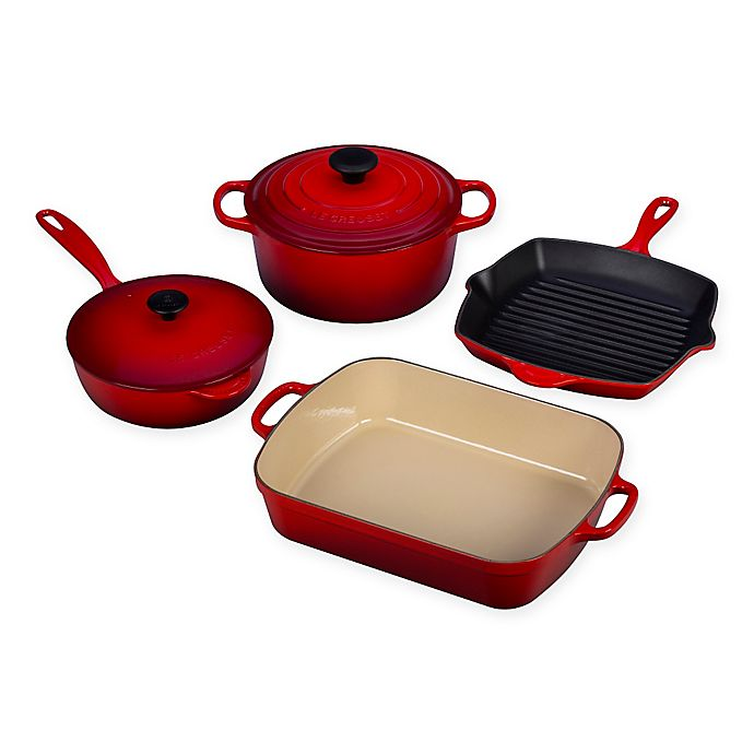 Alternate image 1 for Le Creuset® Signature 6-Piece Cookware Set in Cherry