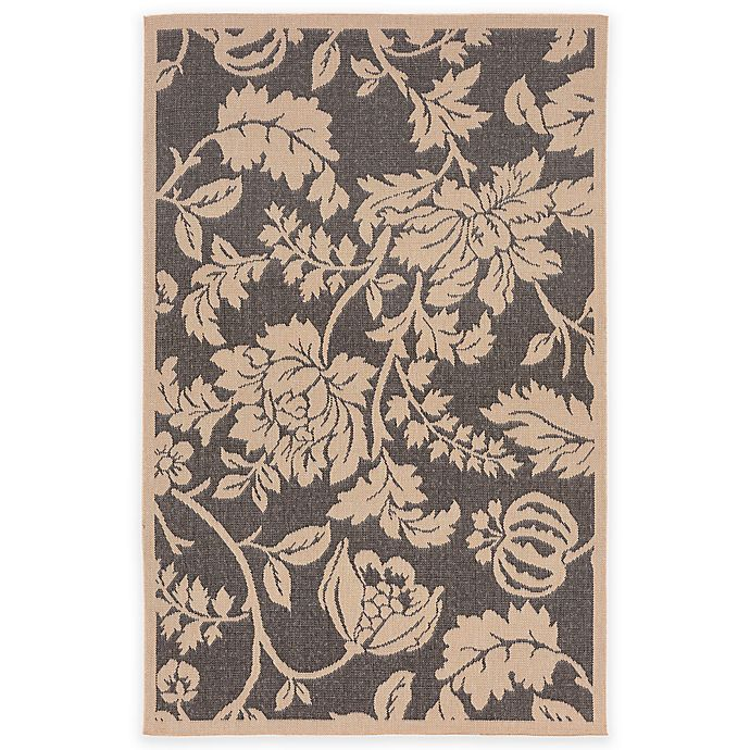 Alternate image 1 for Liora Manne Terracotta Floral 7-Foot 10-Inch Round Indoor/Outdoor Area Rug in Charcoal