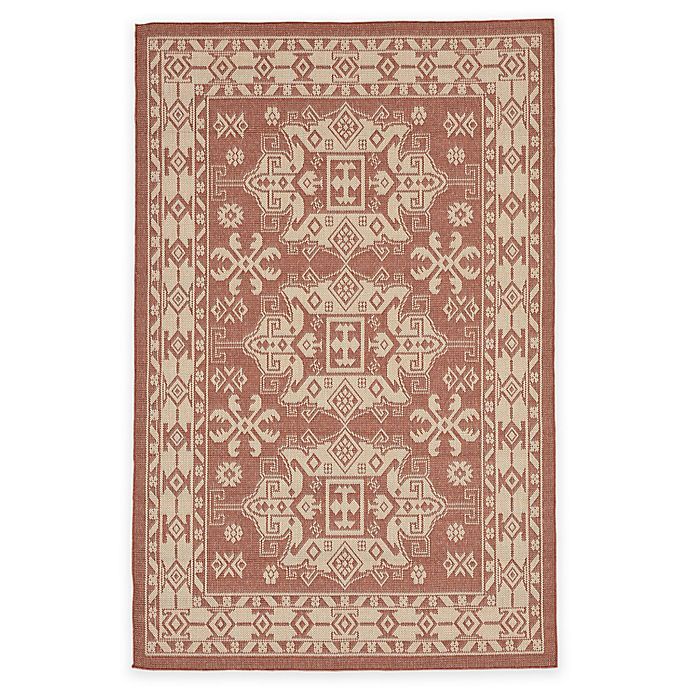 Alternate image 1 for Liora Manne Kilim 4-Foot 10-Inch x 7-Foot 6-Inch Indoor/Outdoor Area Rug in Terracotta