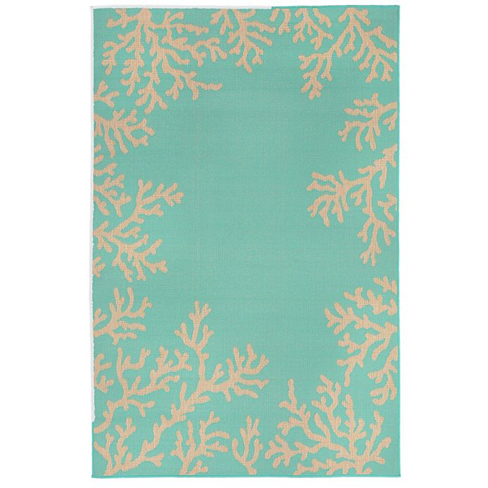 Alternate image 1 for Liora Manne Terrace Coral Border 3-Foot 3-Inch x 4-Foot 11-Inch Indoor/Outdoor Rug in Turquoise