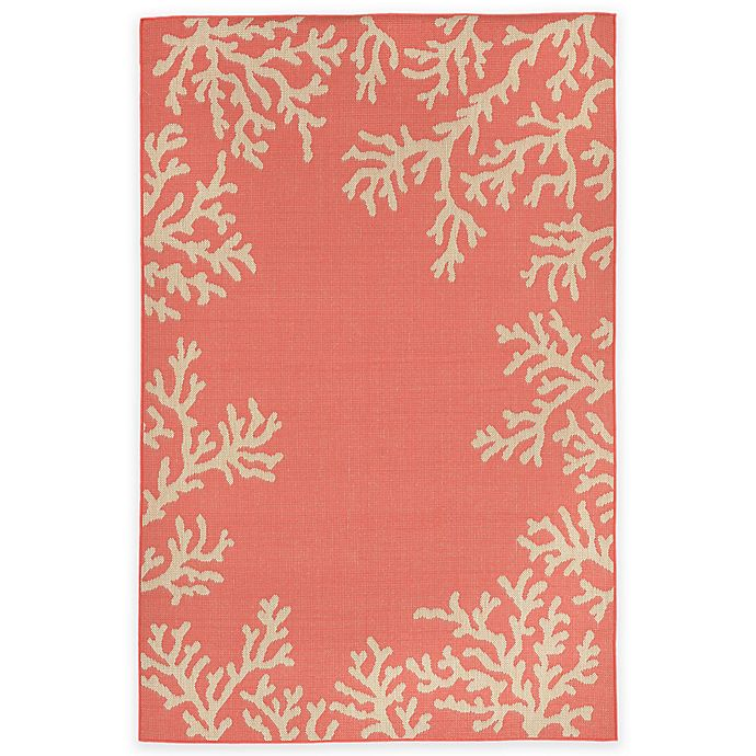 Alternate image 1 for Liora Manne Terrace Coral Border 3-Foot 3-Inch x 4-Foot 11-Inch Indoor/Outdoor Rug in Coral