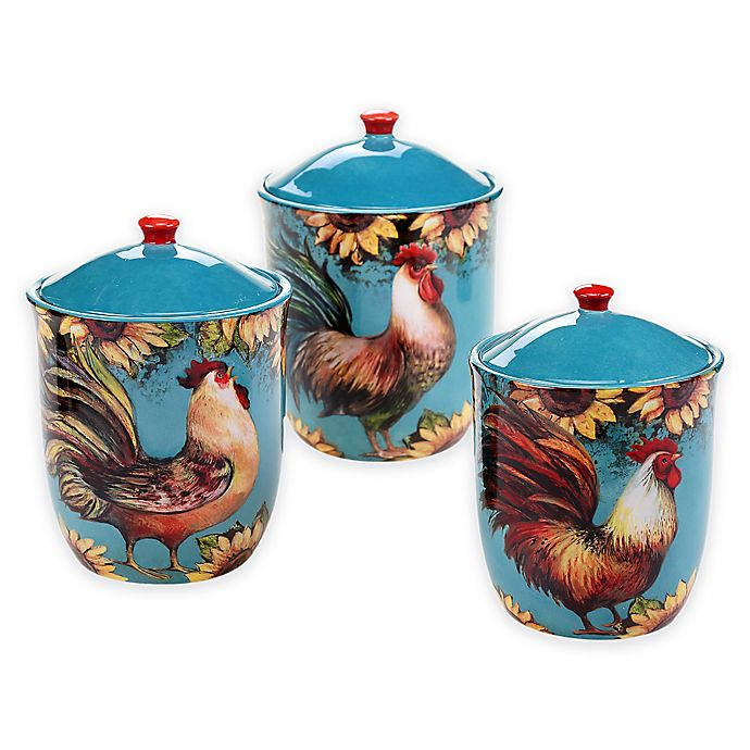 Certified International Sunflower Rooster 3 Piece Canister
