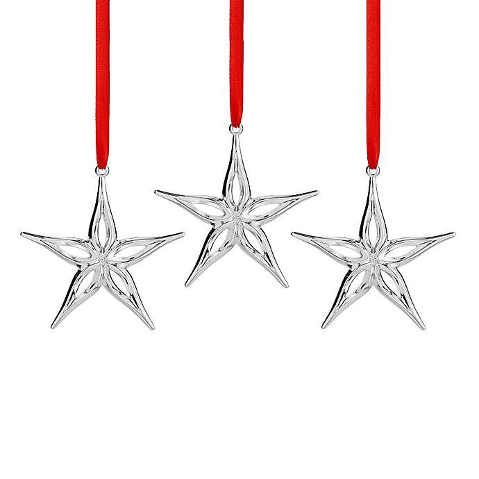 Alternate image 1 for Nambe Mini Star Christmas Ornaments (Set of 3)