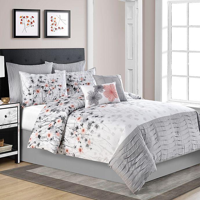 Coral And Gray Bedroom: Calysta Comforter Set In Coral/Grey