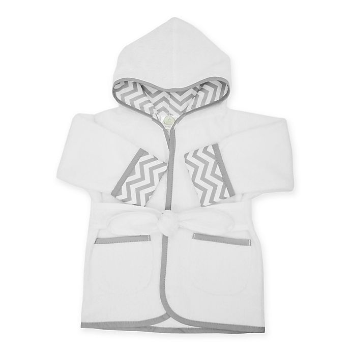 Alternate image 1 for TL Care® Size 0-9M Bath Robe Made with Organic Cotton in Grey Zigzag