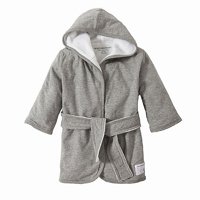 Alternate image 1 for Burt's Bees Baby® Organic Cotton Knit Terry Robe in Grey