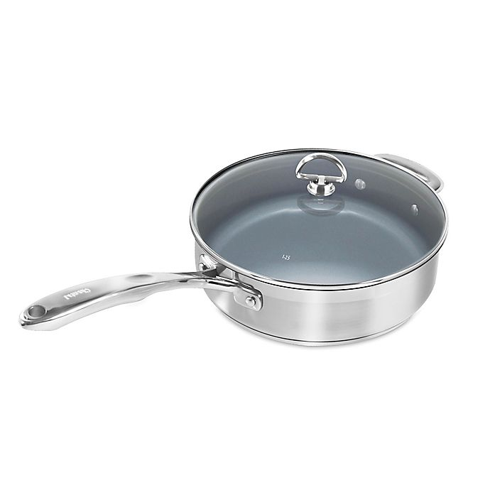 Alternate image 1 for Chantal® Nonstick Ceramic Coated Induction 21 Steel™ 3 qt. Covered Sauté Pan
