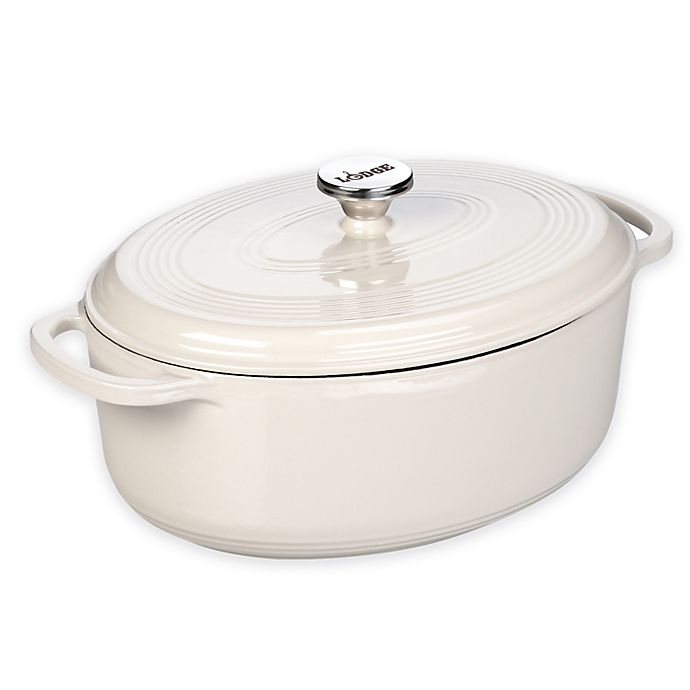 Alternate image 1 for Lodge 7 qt. Enameled Cast Iron Oval Dutch Oven in Oyster White