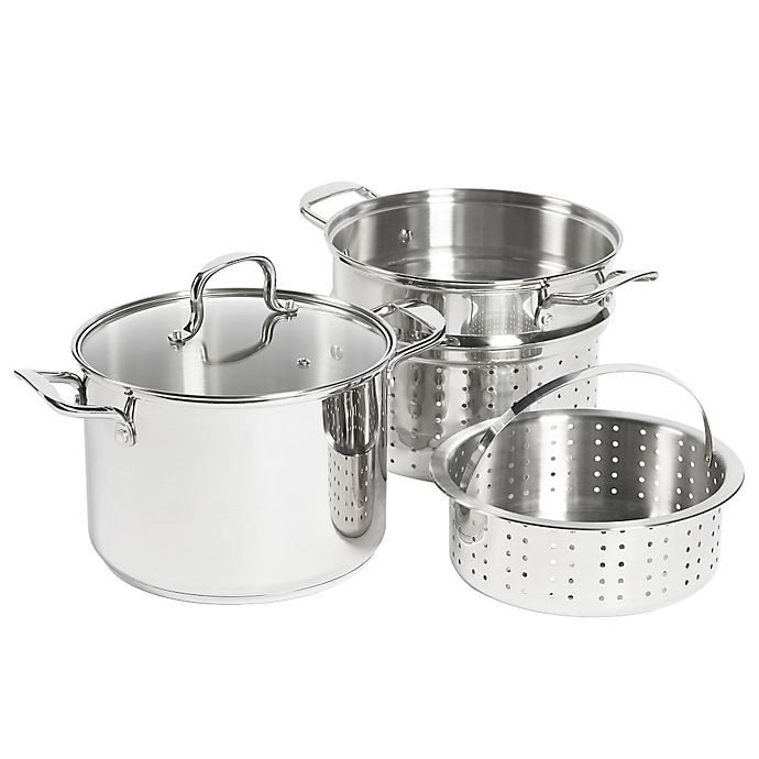 Alternate image 1 for SALT® 8 qt. Stainless Steel 4-Piece Multi-Cooker