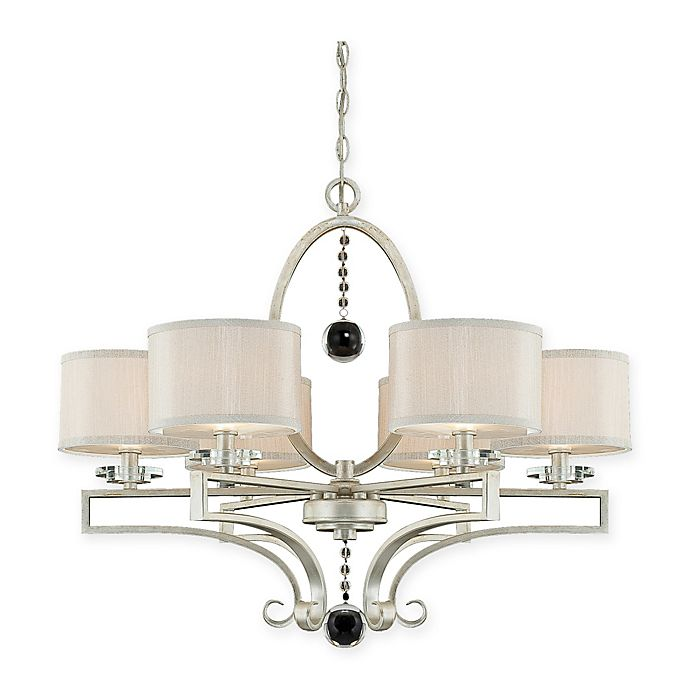 Alternate image 1 for Savoy House Rosendal 6-Light Ceiling Mount Chandelier in Silver with Ivory Shades