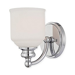 Savoy House Melrose 1-Light Wall-Mount Bath Fixture in Satin Nickel with Glass Shade