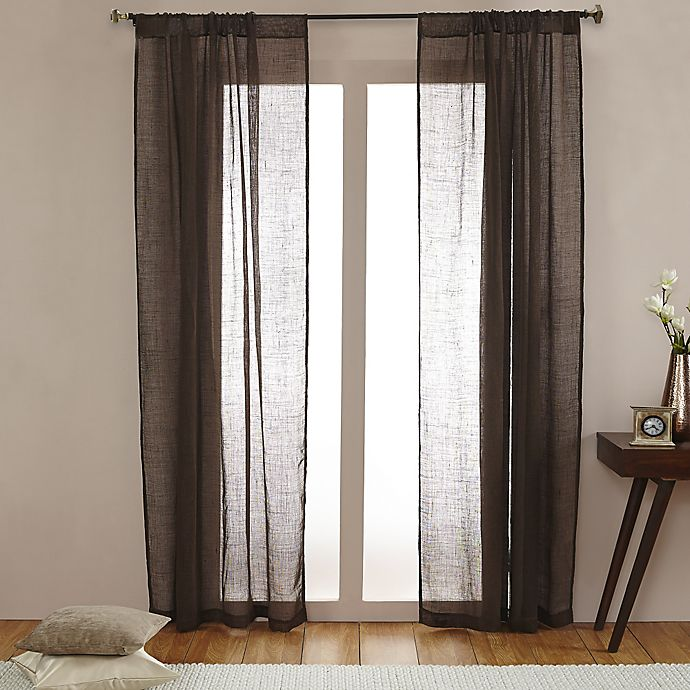 Alternate image 1 for Open Weave Linen Sheer 108-Inch Rod Pocket Window Curtain Panel in Chocolate