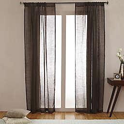 Open Weave Linen Sheer 108-Inch Rod Pocket Window Curtain Panel in Chocolate (Single)
