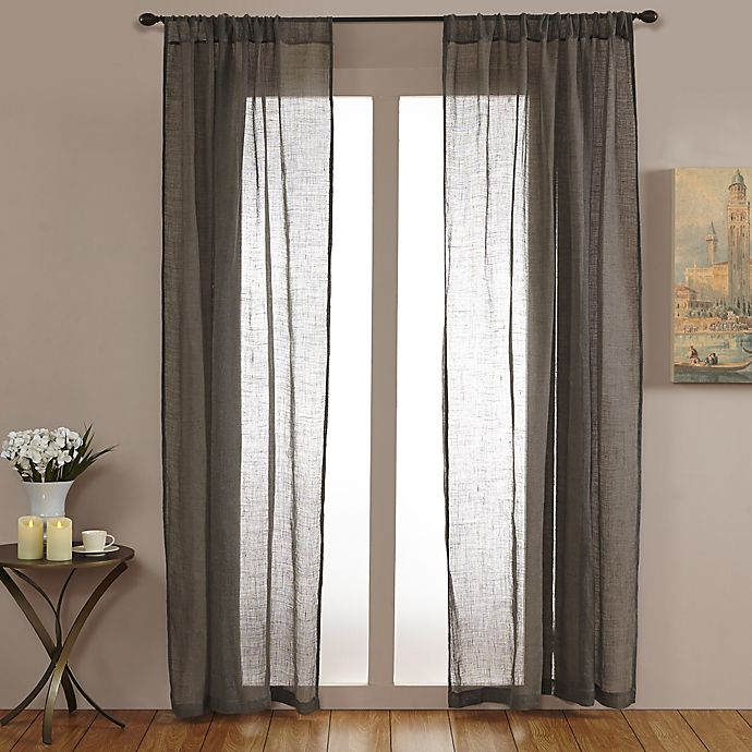 Alternate image 1 for Open Weave Linen Sheer 84-Inch Rod Pocket Window Curtain Panel in Grey
