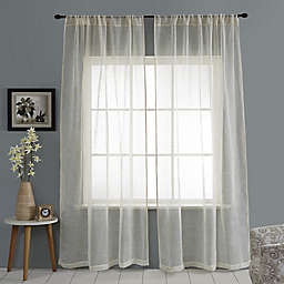 Open Weave Linen Sheer Rod Pocket Window Curtain Panel