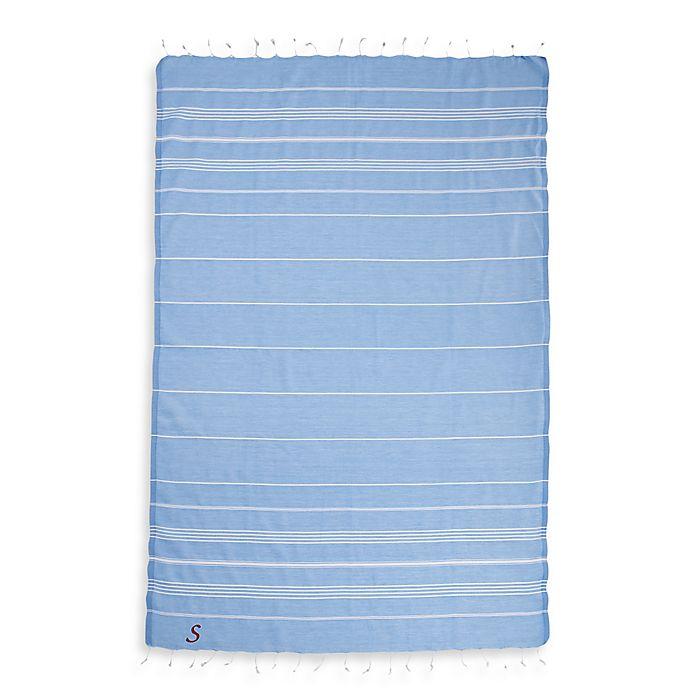 Alternate image 1 for Linum Home Textiles Lucky Monogram Script Letter Turkish Pestemal Beach Towel in Sky Blue