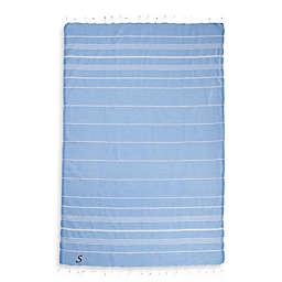 Linum Home Textiles Lucky Monogram Script Letter Turkish Pestemal Beach Towel in Sky Blue