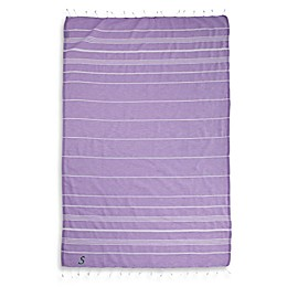 Linum Home Textiles Lucky Monogram Script Letter Pestemal Beach Towel in Lilac
