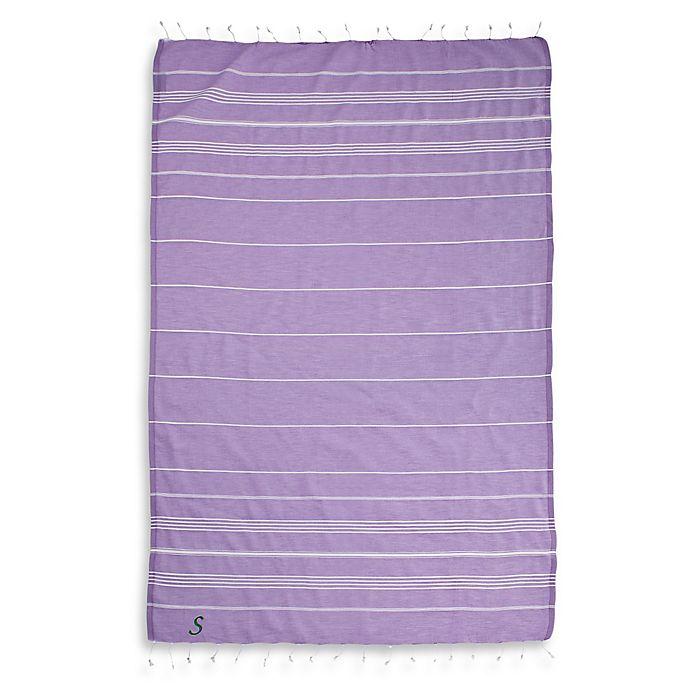 Alternate image 1 for Linum Home Textiles Lucky Monogram Script Letter Pestemal Beach Towel in Lilac