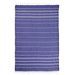Linum Home Textiles Lucky Monogram Script Letter Pestemal Beach Towel in Purple