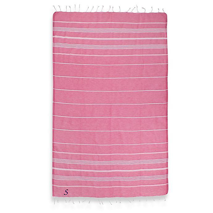 Alternate image 1 for Linum Home Textiles Lucky Monogram Script Letter Pestemal Beach Towel in Pretty Pink
