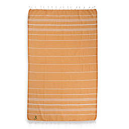 Linum Home Textiles Lucky Monogram Script Letter Pestemal Beach Towel in Melon Orange