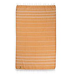 Linum Home Textiles Lucky Monogram Script Letter Pestemal Beach Towel in Melon Orange