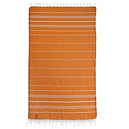 Linum Home Textiles Lucky Monogram Script Letter Pestemal Beach Towel in Dark Orange